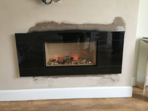 Inset fireplace
