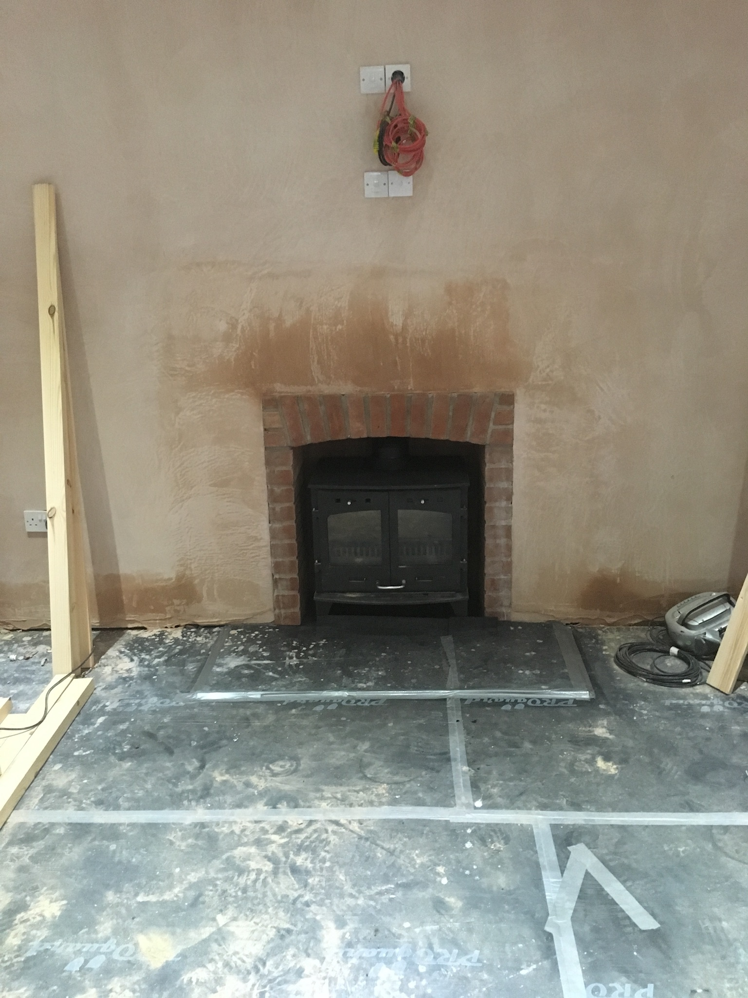 Stove with brick surround