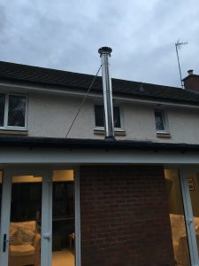Flue fitted to extension roof