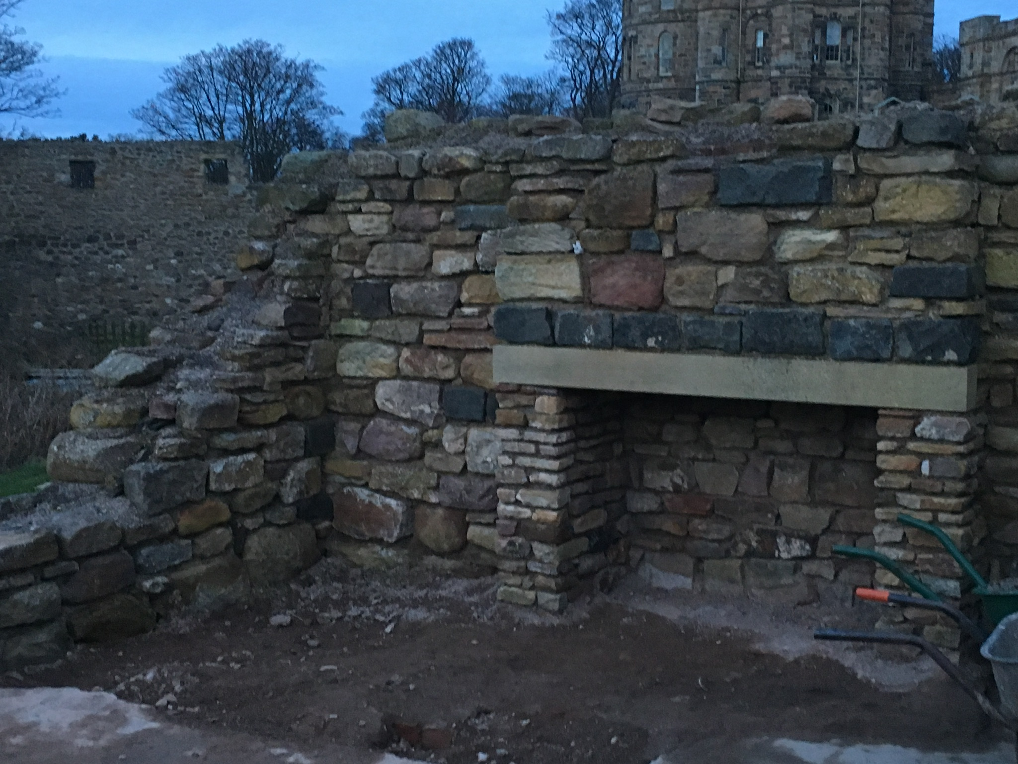 Castle ruin fireplace restoration