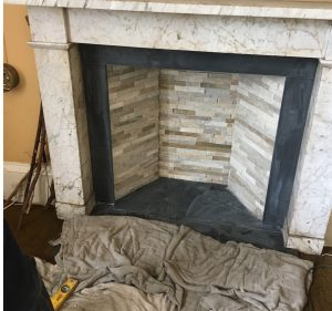 Renovated fireplace ready for stove installation