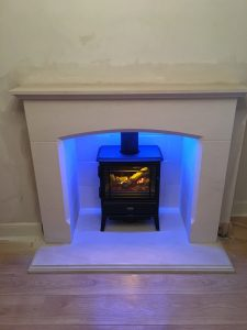 Stove with blue LED lighting