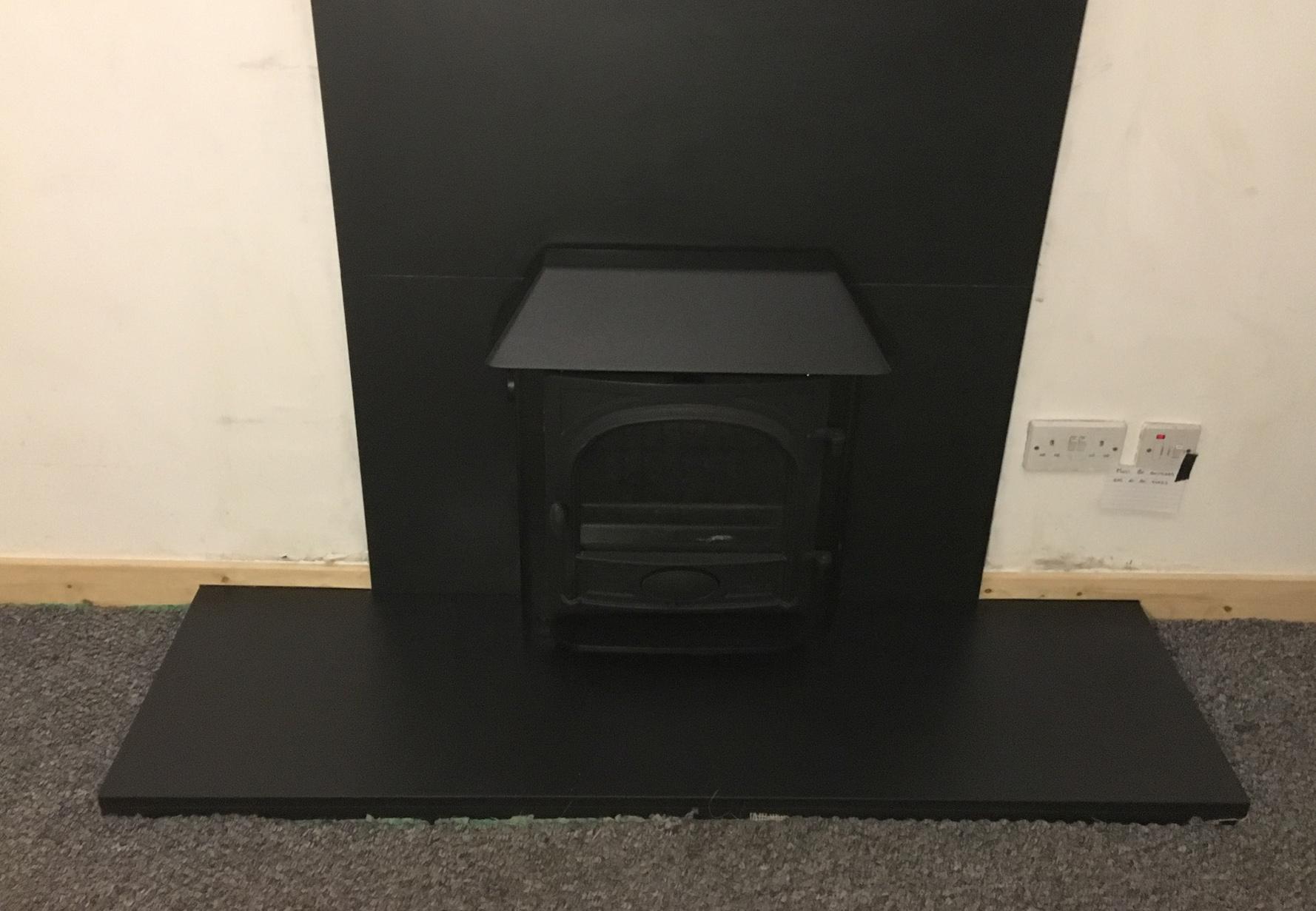Black inset stove