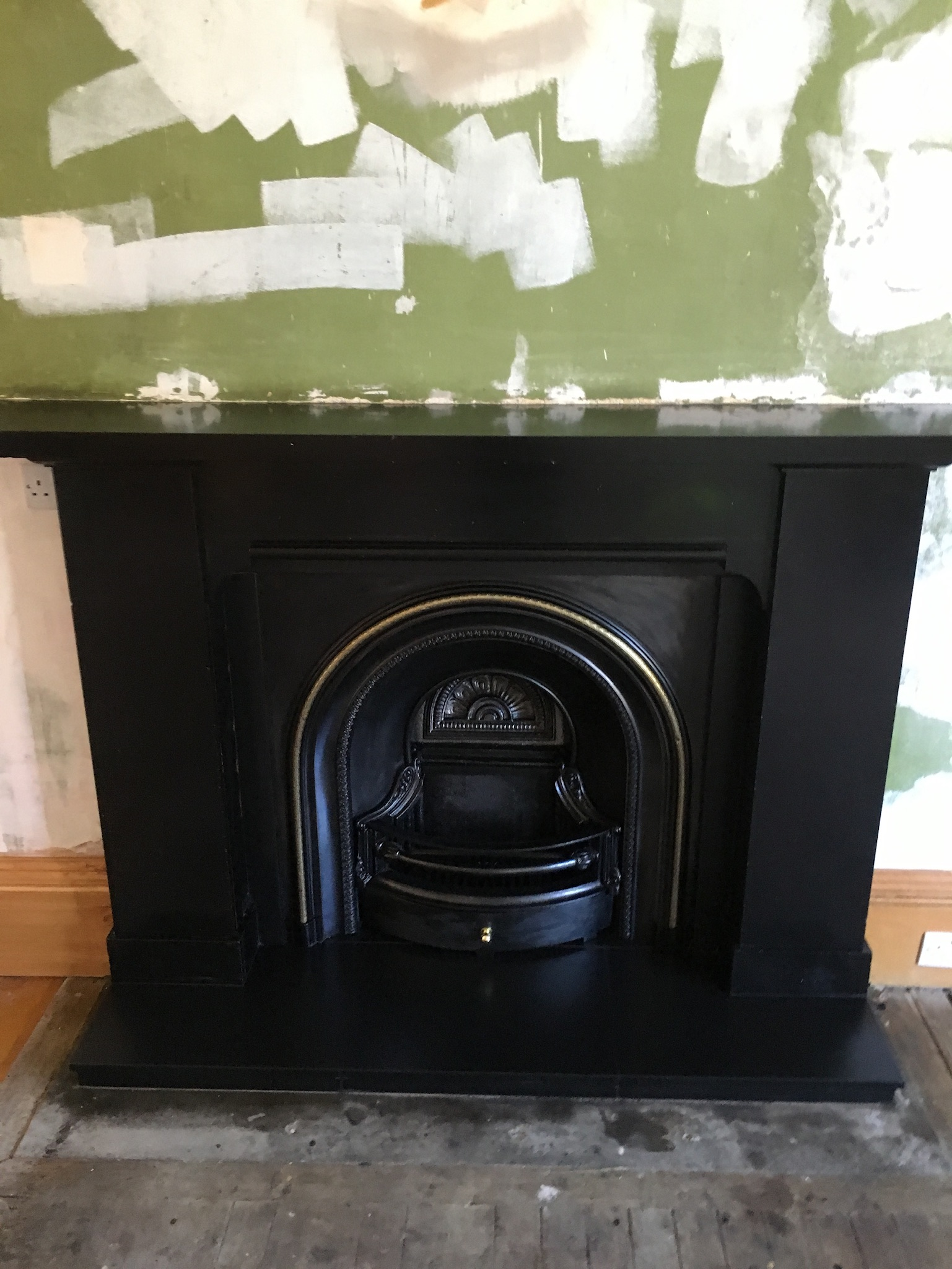 Black fireplace