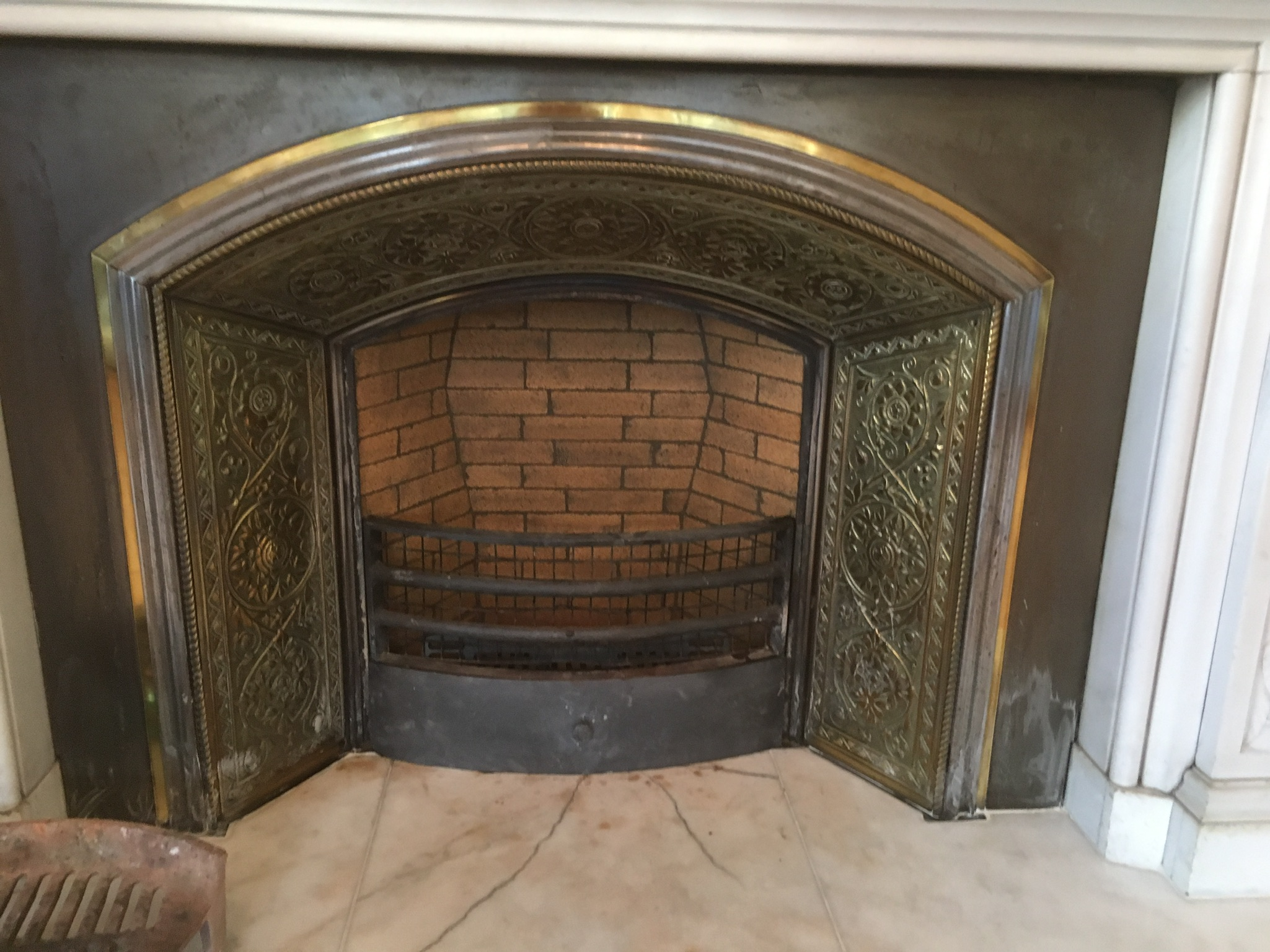 Close-up of ornamental fireplace surround