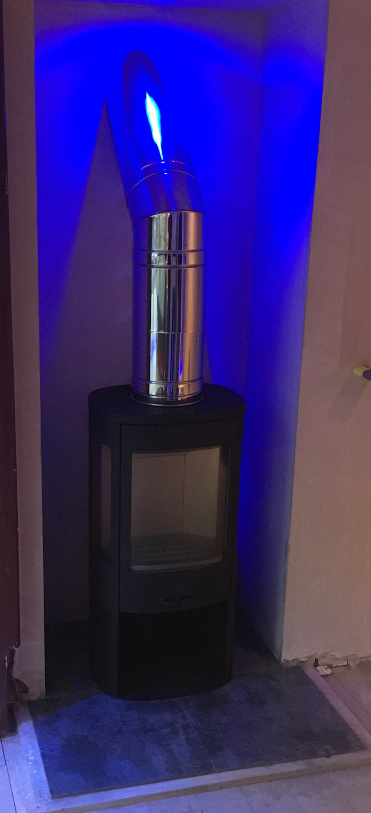 Stove with blue LED down-lighting