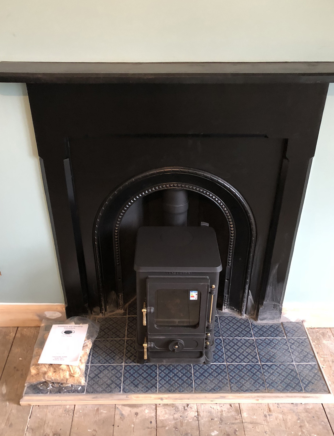 Stove on hearth
